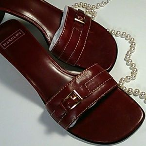 Harold Powell sandals, red Italian leather.